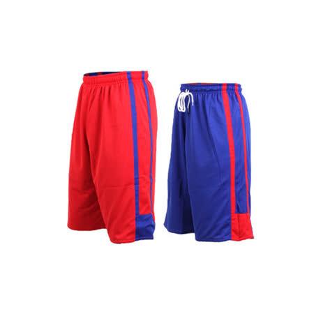 (男女) INSTAR 雙面穿籃球褲-運動短褲 台灣製 寶藍紅 M