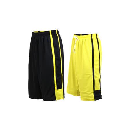 (男女) INSTAR 雙面穿籃球褲-運動短褲 台灣製 黑黃 L