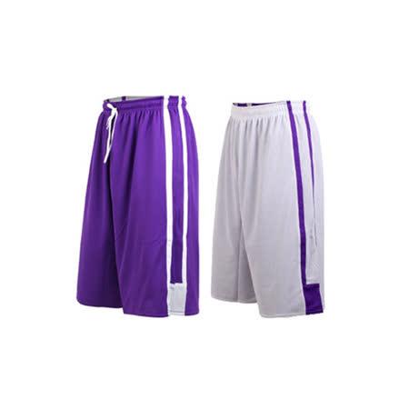 (男女) INSTAR 雙面穿籃球褲-運動短褲 台灣製 紫白
