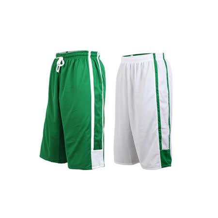 (男女) INSTAR 雙面穿籃球褲-運動短褲 台灣製 綠白 L