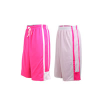 (男女) INSTAR 雙面穿籃球褲-運動短褲 台灣製 桃紅白 L
