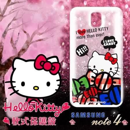 三麗鷗授權正版 Hello Kitty凱蒂貓 三星SAMSUNG Galaxy Note4 透明軟式手機殼(糖果HI)