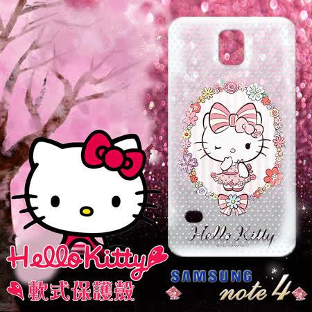三麗鷗授權正版 Hello Kitty凱蒂貓 三星SAMSUNG Galaxy Note4 透明軟式手機殼(花邊Kitty)