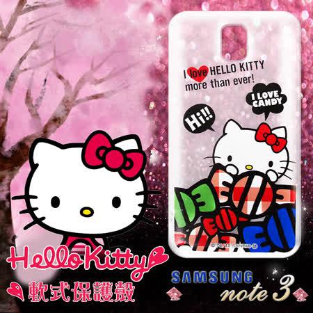 三麗鷗授權正版 Hello Kitty凱蒂貓 三星SAMSUNG Galaxy Note3 透明軟式手機殼(糖果HI)