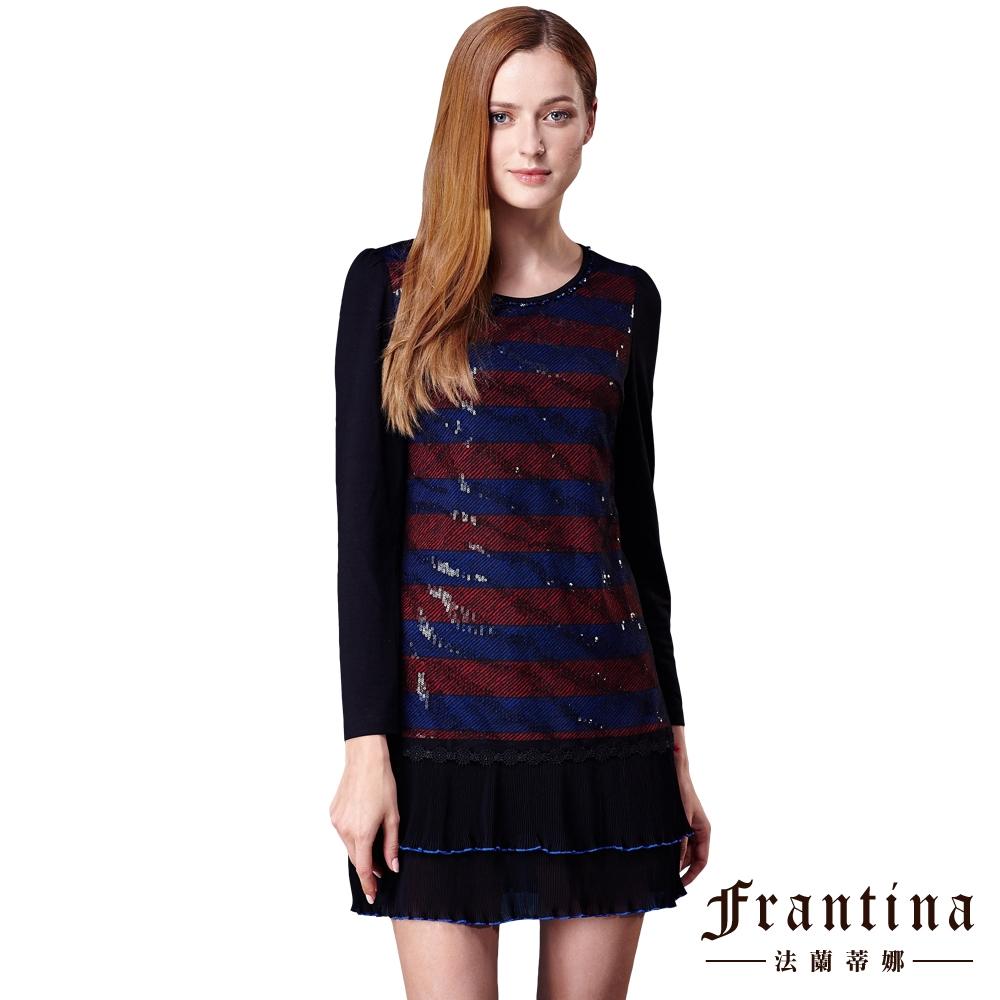~法蘭蒂娜~圓領條紋拼接雪紡洋裝