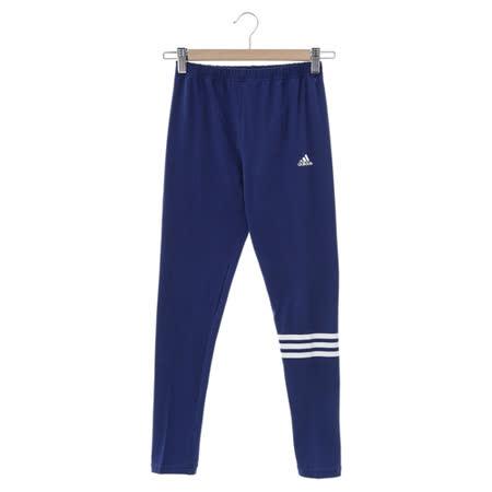 adidas (女)緊身運動長褲-藍-S19624