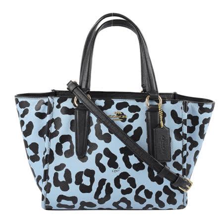 COACH 馬車LOGO防刮豹紋皮兩用造型包.藍/黑