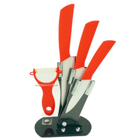 【廚藝工坊】絢彩輕巧陶瓷刀具刀架5件組(鮮紅色)