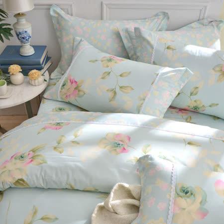 MONTAGUT- 古典玫瑰園-精梳棉-雙人七件式鋪棉床罩組(綠)