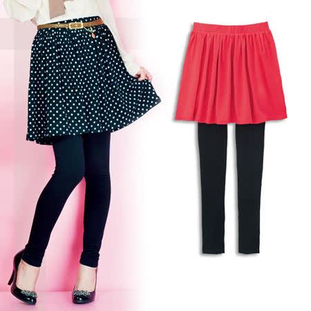 日本portcros 現貨-俏麗淑女皺褶短裙付內搭褲-珊瑚粉M