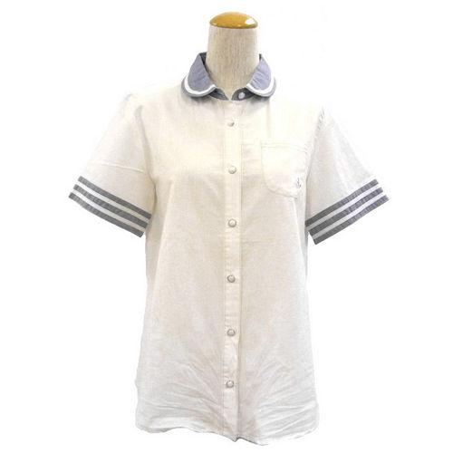 ~ portcros~ ~帥氣船錨刺繡口袋配色翻領襯衫~白