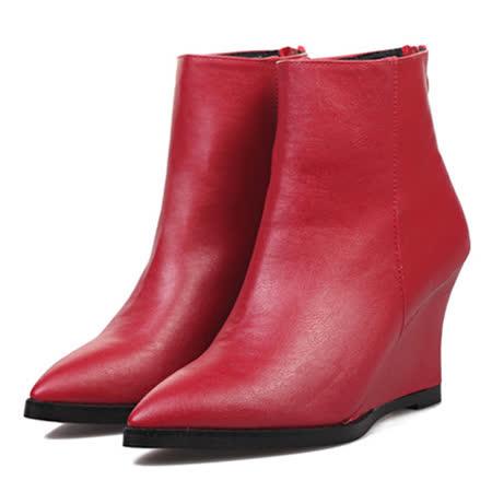 《JOYCE》太妃Q系列質感皮尖頭短靴