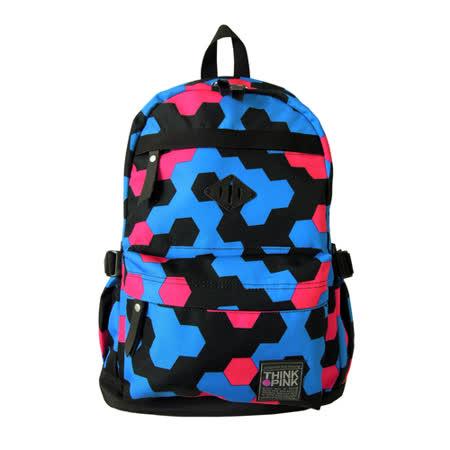 【THINK PINK】幻彩系列 第二代加強版 輕量後背包-幾何青