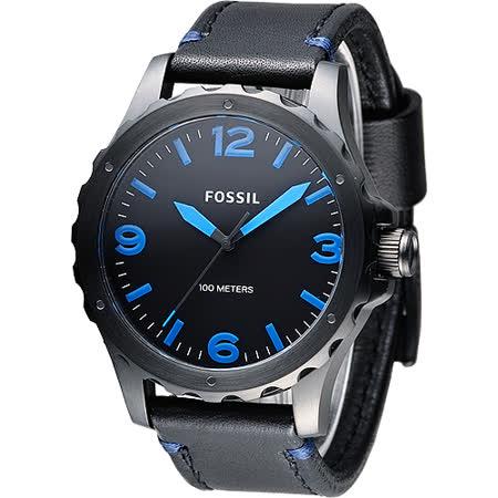 FOSSIL 黑騎士個性型男腕錶-黑/藍刻(JR1446)