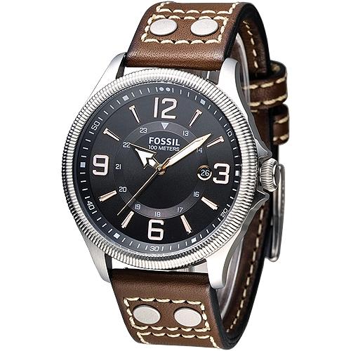 FOSSIL 風格至上復古型男腕錶~黑面褐帶^(FS4962^)