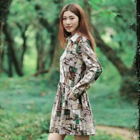 【Maya Collection】抽象派印花收腰繫帶長袖薄款連衣裙 (咖啡色)