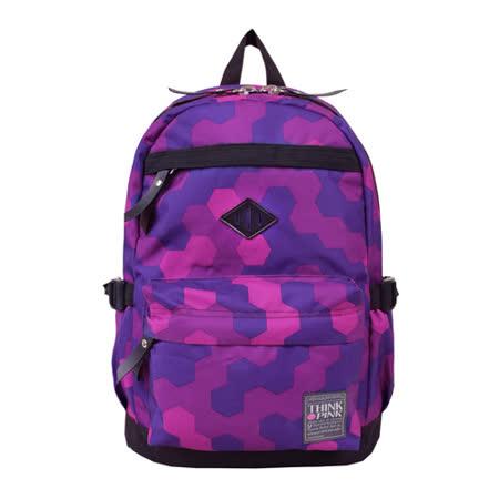 【THINK PINK】幻彩系列 第二代加強版 輕量後背包-幾何紫