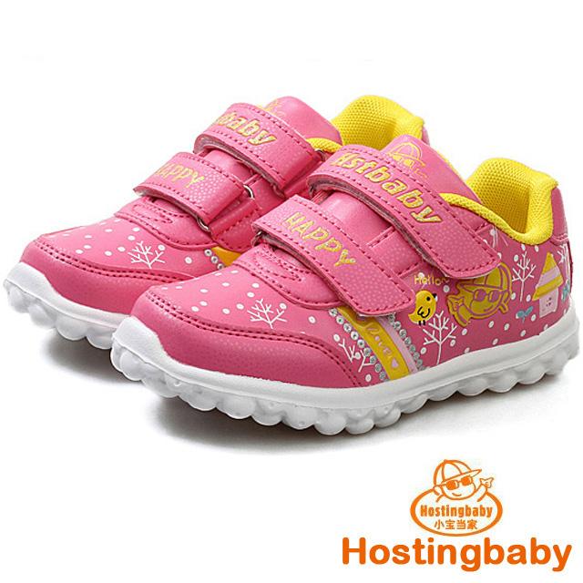 【Hostingbaby小寶當家】6123梅紅色兒童運動鞋女童鞋新款春秋旅遊鞋潮鞋子公主輕便波鞋