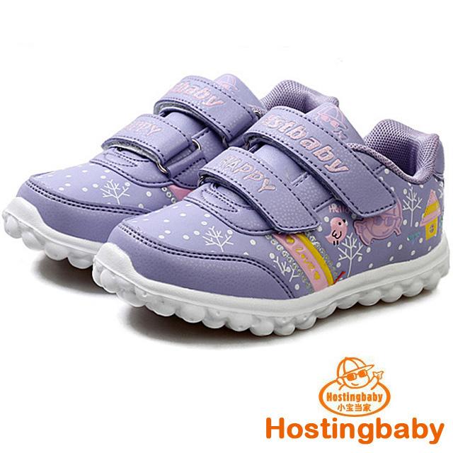 【Hostingbaby小寶當家】6123暗紫色兒童運動鞋女童鞋新款春秋旅遊鞋潮鞋子公主輕便波鞋