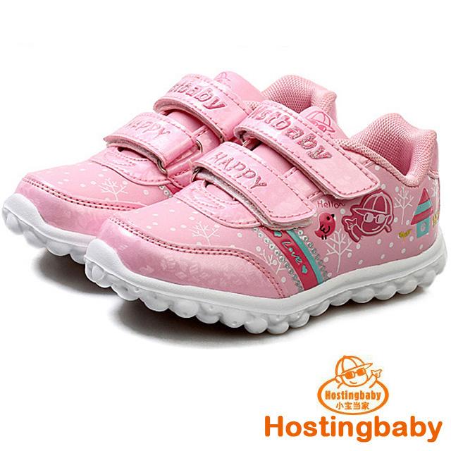 【Hostingbaby小寶當家】6123粉紅色兒童運動鞋女童鞋新款春秋旅遊鞋潮鞋子公主輕便波鞋