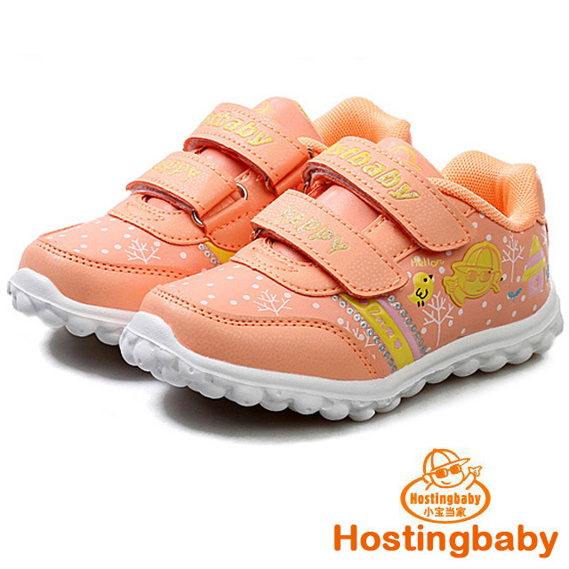 【Hostingbaby小寶當家】6123熒光粉兒童運動鞋女童鞋新款春秋旅遊鞋潮鞋子公主輕便波鞋