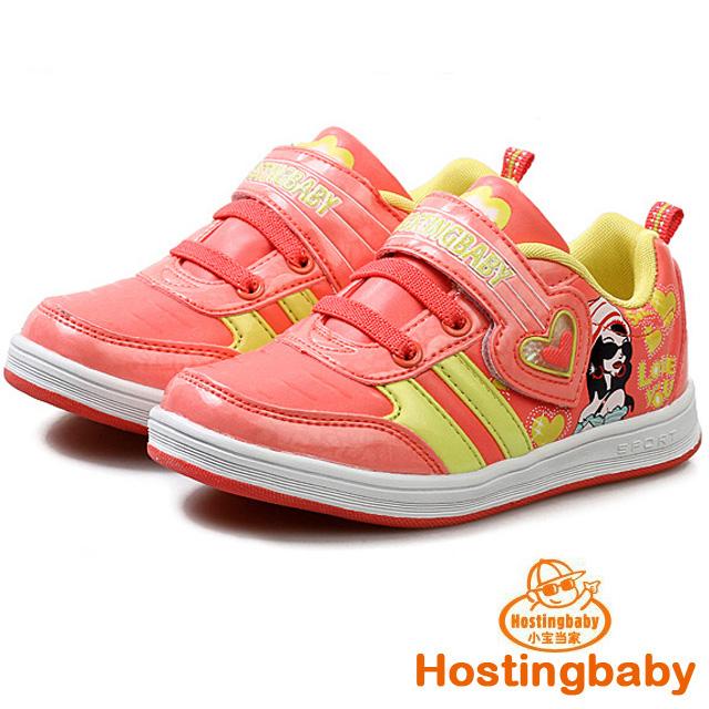 【Hostingbaby小寶當家】5162西瓜紅板鞋防滑兒童運動鞋女童鞋春秋新款旅遊波鞋子韓版潮