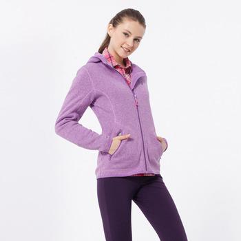 【hilltop山頂鳥】女款連帽刷毛外套H22FR1-風鈴紫/麻花