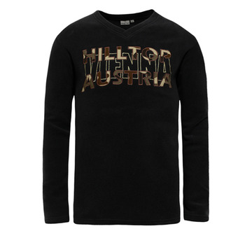 【hilltop山頂鳥】男款V領刷毛保暖上衣H51ME2-黑