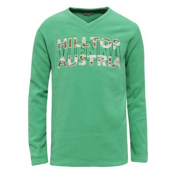 【hilltop山頂鳥】男款V領刷毛保暖上衣H51ME2-草綠
