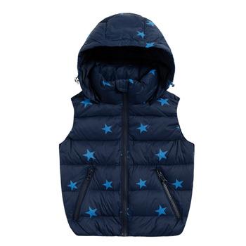 【hilltop山頂鳥】童款可拆帽蓄熱羽絨背心F25CF0-深藍/寶藍-140