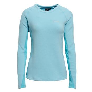 【hilltop山頂鳥】女款圓領領刷毛保暖上衣H51FE3-水藍