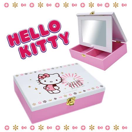 【Hello Kitty】飾品盒 珠寶盒 化妝鏡 木製可愛收納盒(台灣製正版授權)
