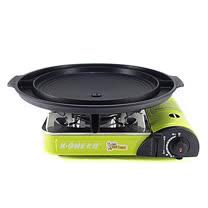 卡旺-777攜帶式卡式爐+韓國大理石雙用圓烤盤NY2499