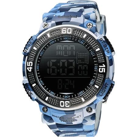 Timberland CADION 系列多功能數位腕錶-迷彩藍/51mm TBL.13554JPBL/02