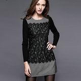 【麗質達人中大碼】3439蕾絲拼接撞色連衣裙(XL-4XL)