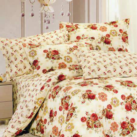 飾家《花蝶飛-黃》雙人六件式兩用被床罩組台灣製造