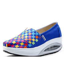 【Maya easy】增高搖擺鞋 帆布面料 豬皮內裡 氣墊鞋底 舒適走路鞋-美式手繪風格-小彩格款-藍色
