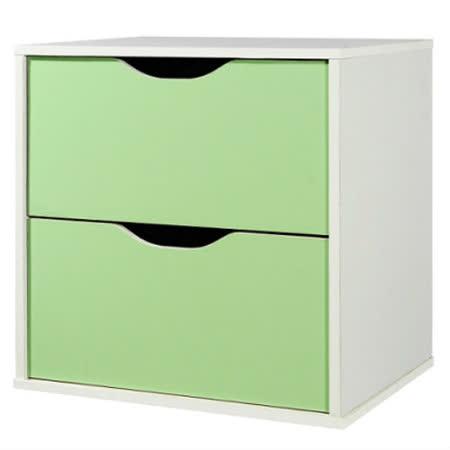 魔術方塊雙層抽屜收納櫃-綠(41*28.4*40.6cm)