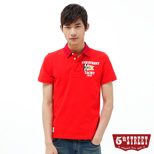 5th STREET 旗幟貼布繡POLO衫~男~紅色