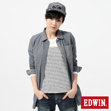EDWIN 襯衫 暗口袋長版牛仔襯衫-女-酵洗藍