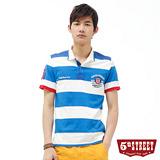 5th STREET 粗條紋配色POLO衫-男-土耳其藍