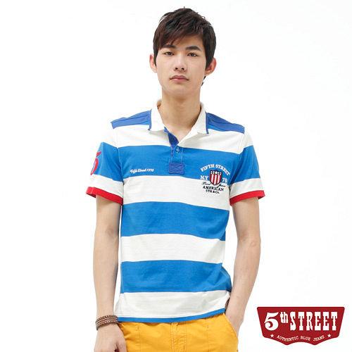 5th STREET 粗條紋配色POLO衫~男~土耳其藍