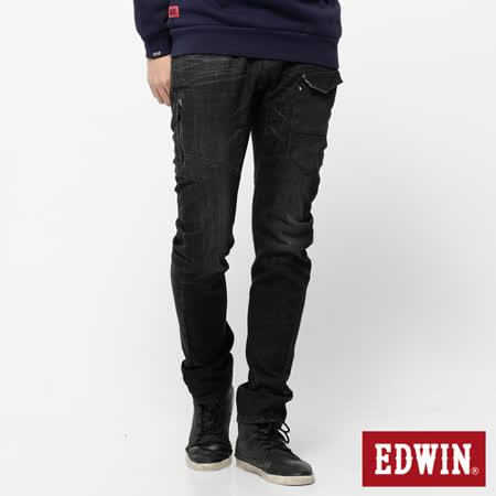EDWIN E-F 貼袋機能3D窄直筒牛仔褲-男-中灰