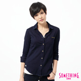 SOMETHING 漂染針織牛仔襯衫-女-原藍色