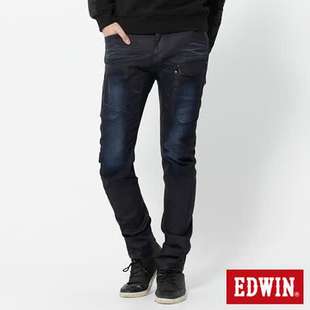 EDWIN E-F貼袋機能3D窄直筒牛仔褲-男-原藍磨