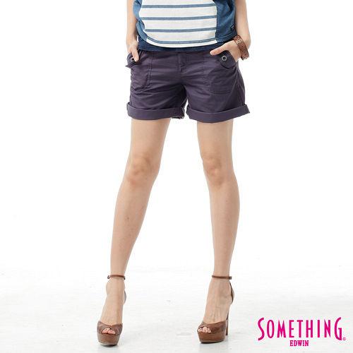 SOMETHING 袋蓋大口袋休閒短褲~女~紫色