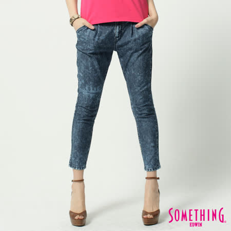SOMETHING LADIVA TAPERED小泡牛仔褲-女-雪花藍