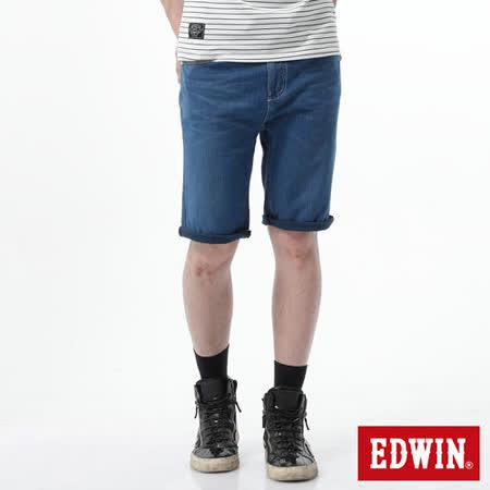 EDWIN 大尺碼 迦績褲JERSEYS涼爽牛仔短褲-男-石洗藍
