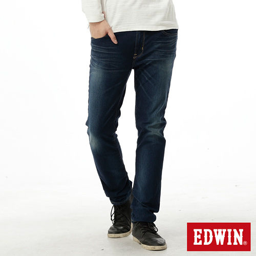 EDWIN 大尺碼 迦績褲JERSEYS紅布邊牛仔褲-男-中古藍