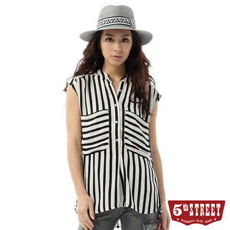 5th STREET 條紋背心襯衫-女-黑色